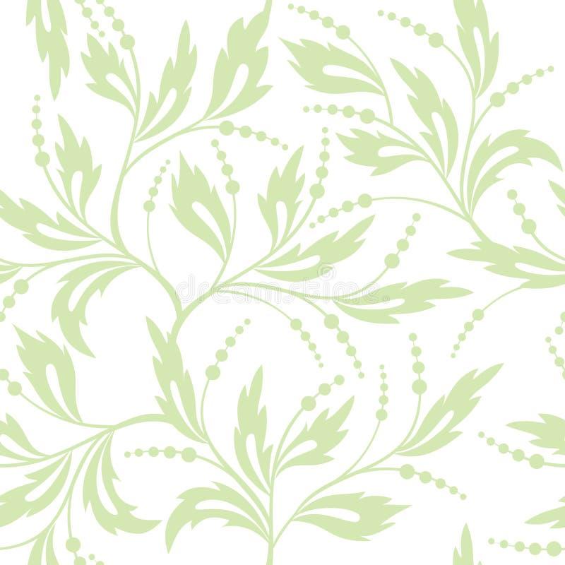 Branco e claro florais - teste padrão sem emenda verde ilustração royalty free