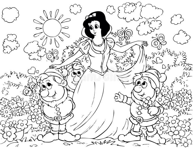 Branco e Gnomes da neve ilustração do vetor