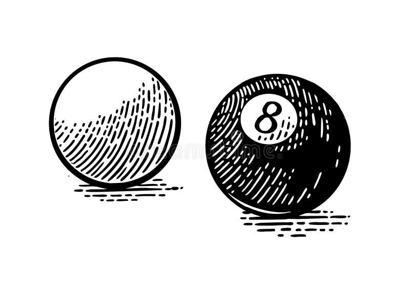 Branco e oito bolas de bilhar Gravura preta do vintage ilustração do vetor