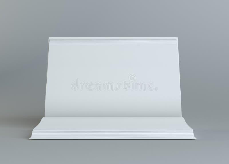 Branco esvazie o livro aberto no fundo cinzento ilustração stock