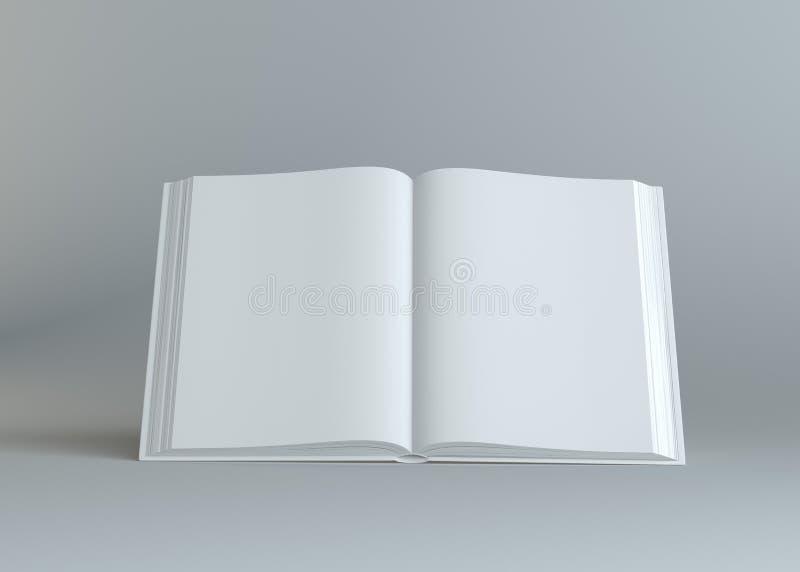 Branco esvazie o livro aberto no fundo cinzento ilustração royalty free