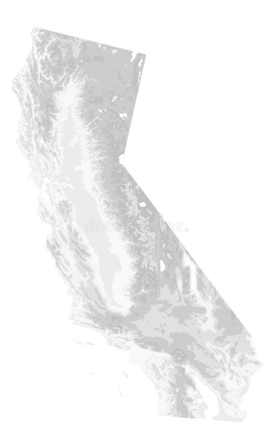 Branco físico do mapa de Califórnia e Grey Isolated On White - nenhum texto ilustração royalty free