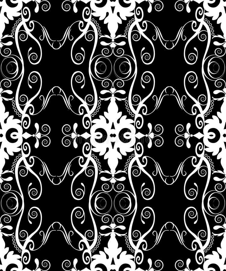 Branco Filigree do damasco em sem emenda preto ilustração stock