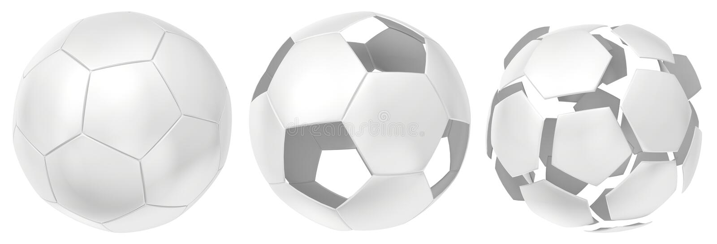 Branco futurista da coleção das bolas isoladas no fundo branco rendição 3d ilustração royalty free