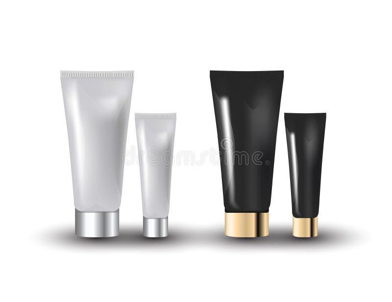 Branco glamoroso, facial preto e frascos de creme do olho isolados no fundo branco Ilustração realística do vetor do modelo 3D ilustração royalty free