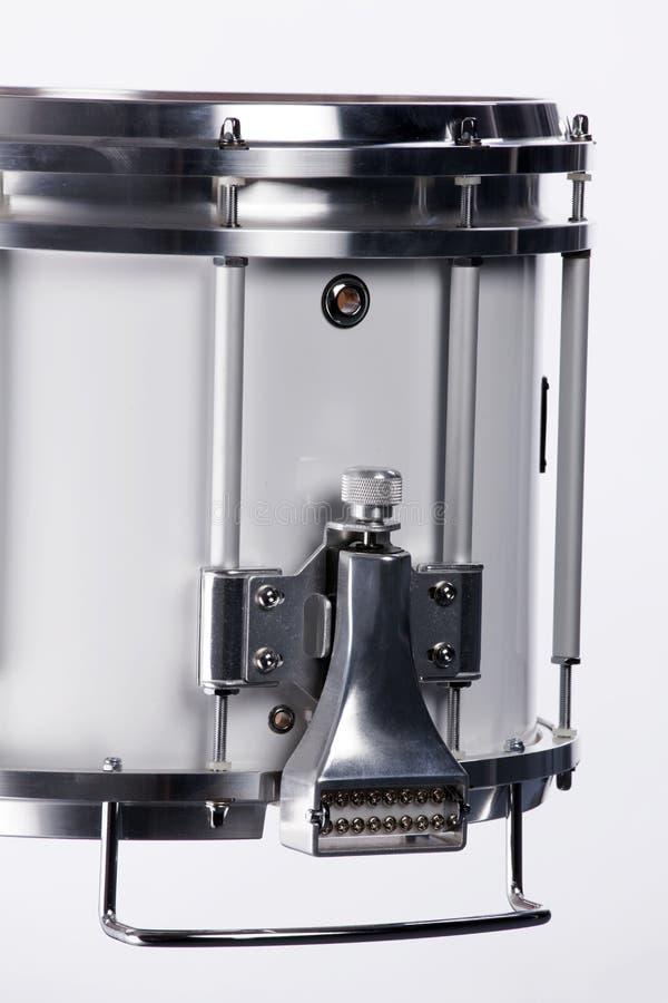 Branco isolado de marcha do cilindro de Snare imagens de stock