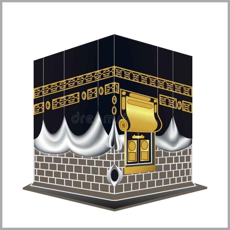 Branco isolado mesquita de Kaaba muçulmanos santamente da construção da Meca, para o Haj, fitr, adha, kareem ilustração royalty free