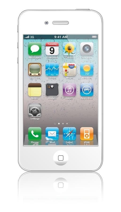 Branco novo do iPhone 4 de Apple ilustração stock