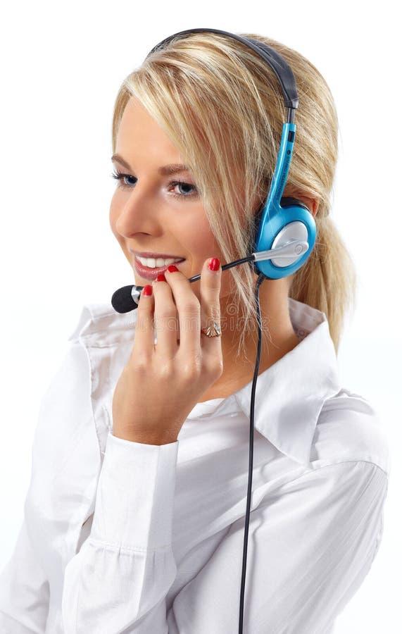 Branco Operador-Isolado serviço de atenção a o cliente fotografia de stock