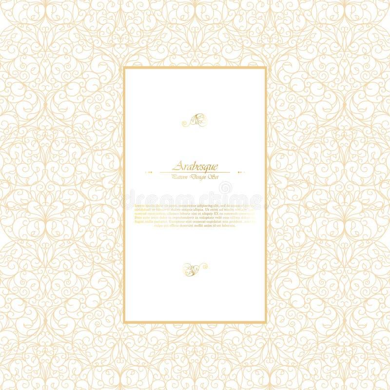 Branco oriental do vintage do elemento do Arabesque e temp do fundo do ouro ilustração royalty free