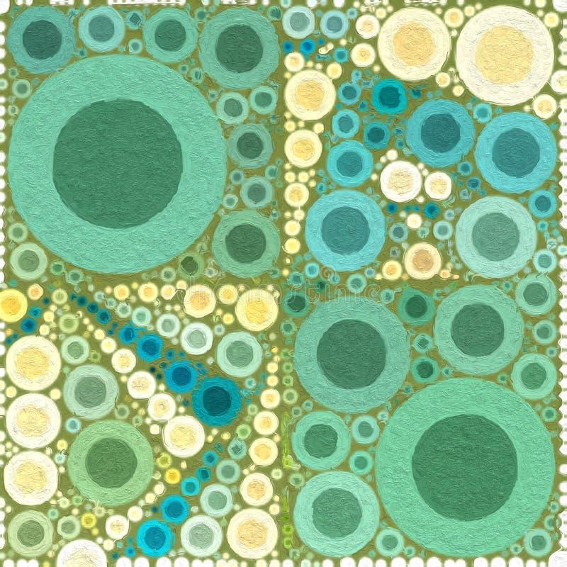 Branco Painterly abstrato do verde do fundo das bolhas ilustração do vetor