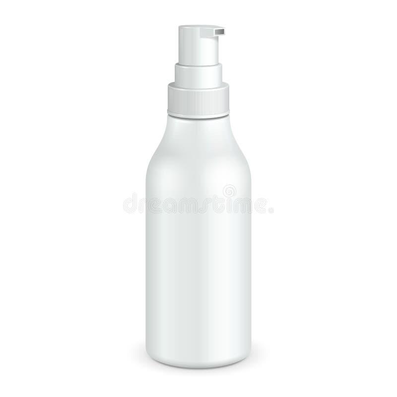Branco plástico da garrafa da bomba do distribuidor do gel, da espuma ou do sabão líquido ilustração royalty free