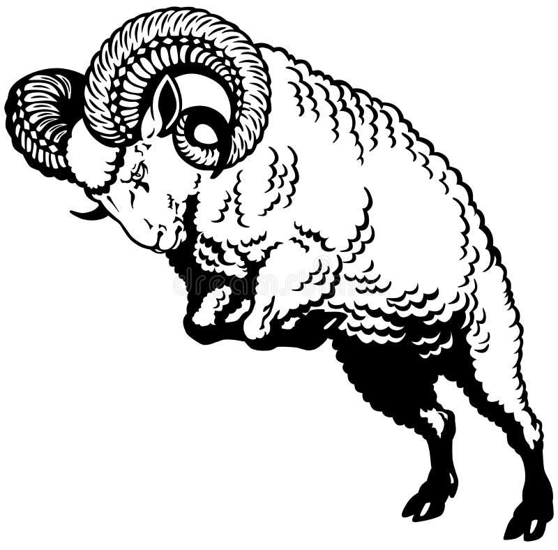 Branco preto do Áries ilustração do vetor