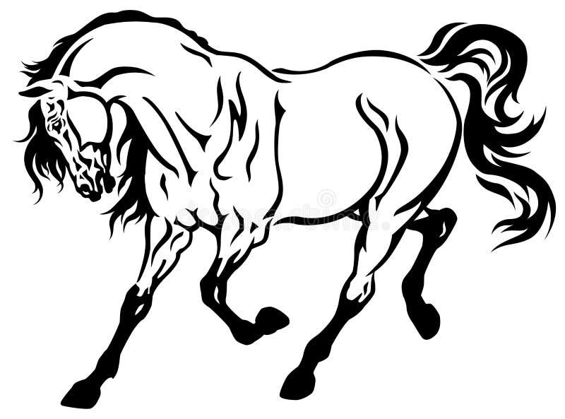 Branco running do preto do cavalo ilustração royalty free