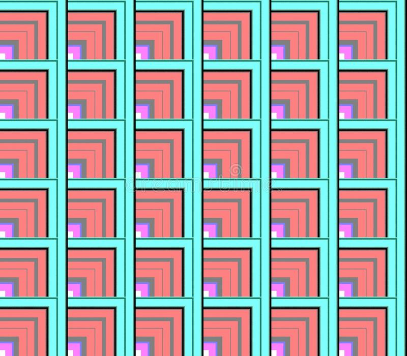 Branco sem emenda e vermelho abstratos, azul e linhas verdes e quadrados e cubos ilustração do vetor