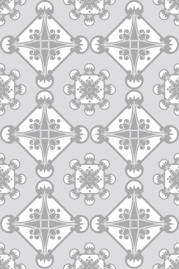 Branco sem emenda no teste padrão cinzento do papel de parede ilustração stock