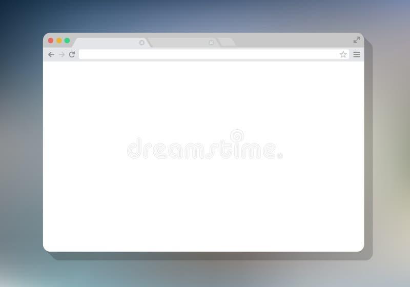 Branco simples da janela do browser da Web, fundo da cor, liso ilustração royalty free