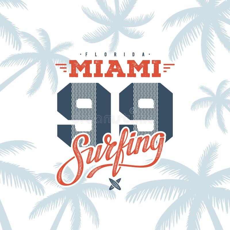 Branco surfando 99 de Miami ilustração do vetor