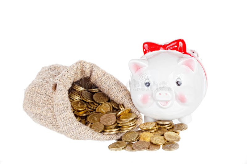 Download Branco Uma Caixa Da Porco-moeda Imagem de Stock - Imagem de imagem, moeda: 26507291