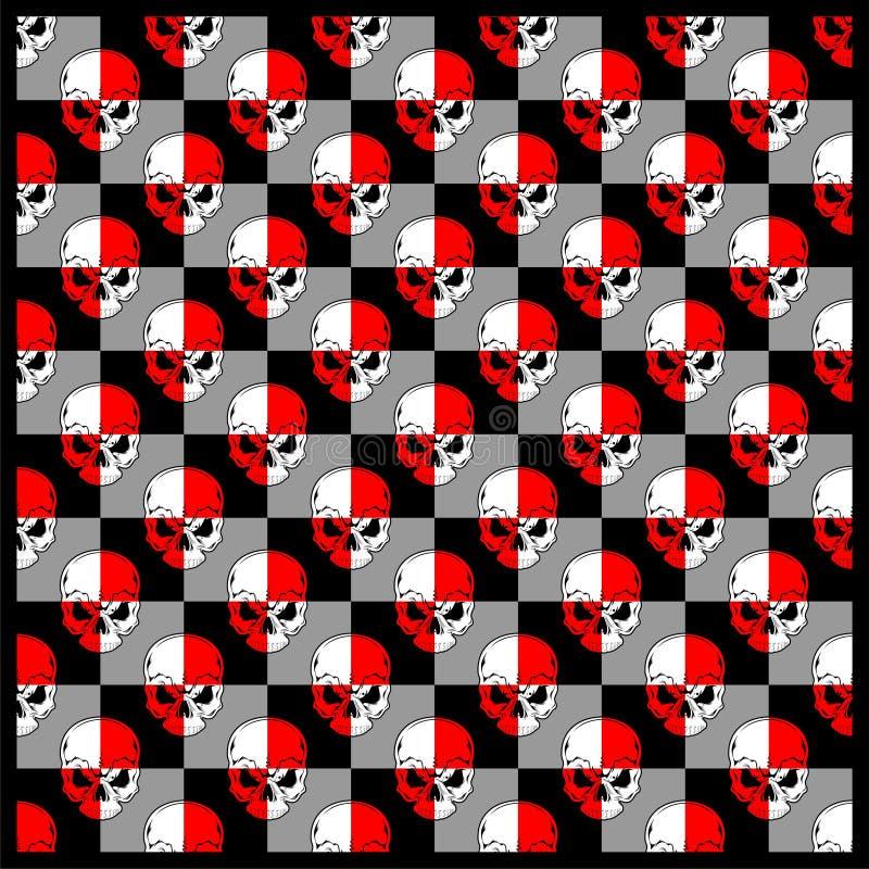 Branco vermelho do cr?nio do teste padr?o, desenho da m?o do vetor ilustração do vetor