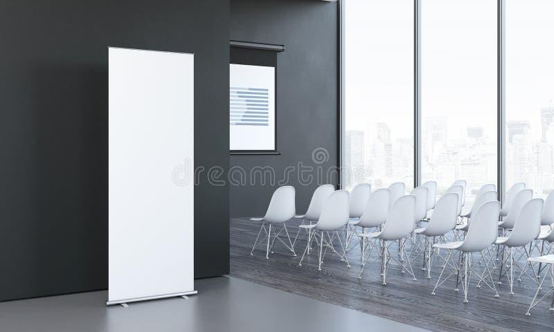 Brancos vazios rolam acima ao lado da sala de reunião no escritório moderno, rendição 3d imagem de stock royalty free