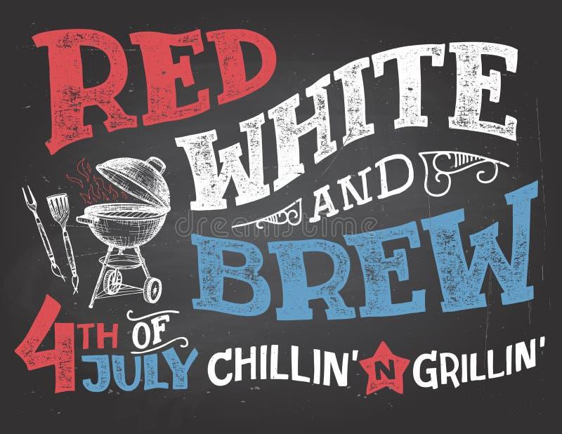 Brancos vermelhos e fabricam cerveja 4ns da celebração de julho ilustração royalty free