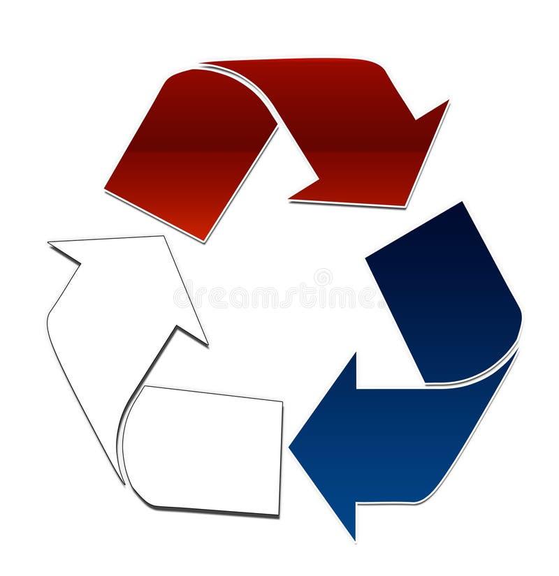 Brancos vermelhos e o azul recicl ilustração stock