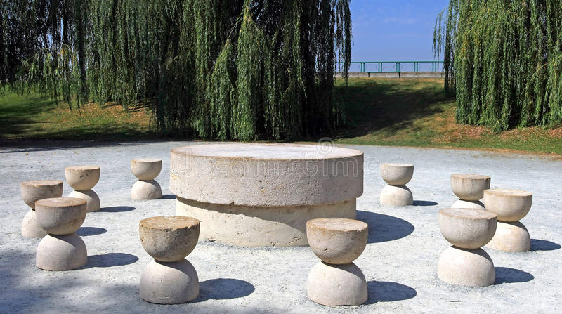 Brancusi's Table of Silence. The Table of Silence is part of the Sculptural Ensemble of Constantin Brancusi in Targu Jiu. Around the Table of Silence, Brancusi royalty free stock image