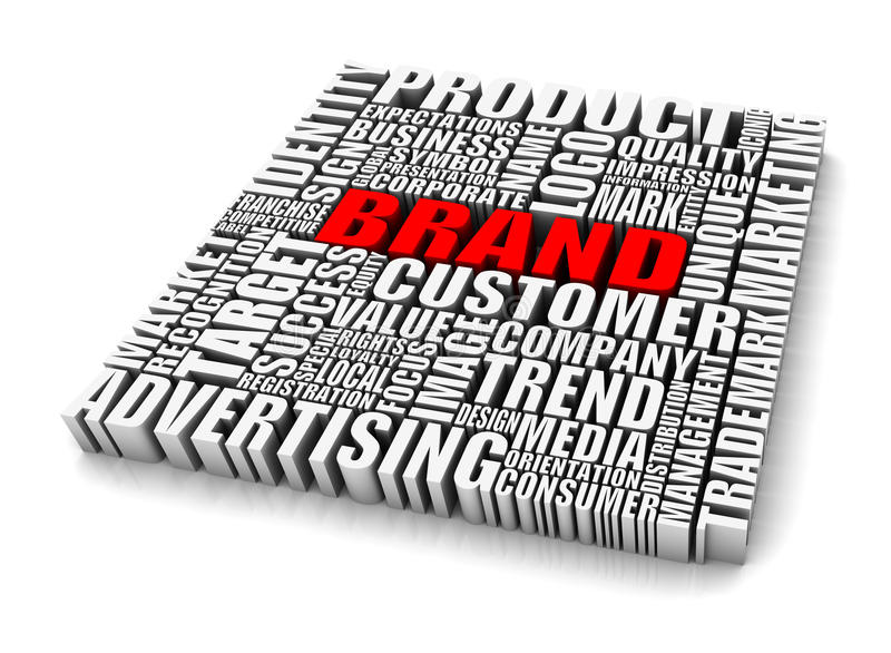 Brand. Group of Brand related words. Part of a series of business concepts vector illustration