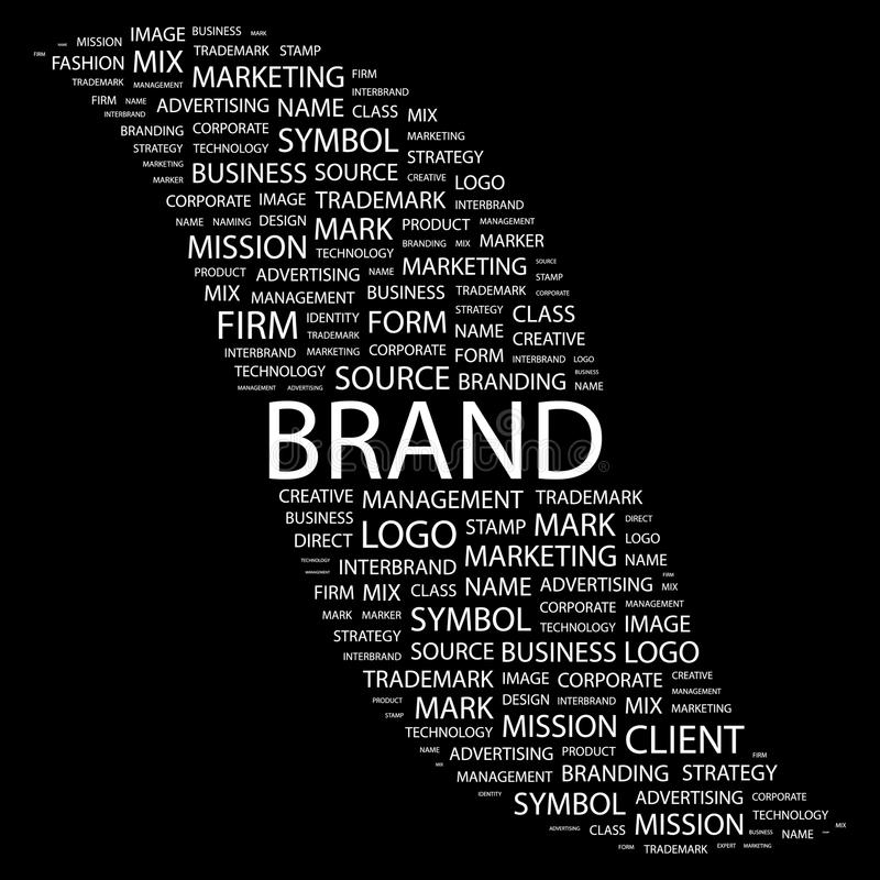 BRAND. Word collage on black background. Vector illustration. Illustration with different association terms