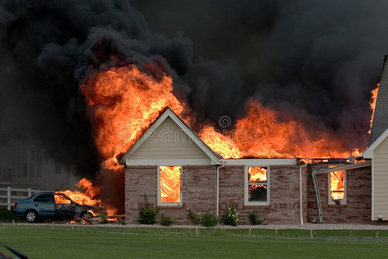 Brand 3 van het huis royalty-vrije stock foto