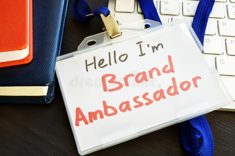 Brand ambassador badge on a keyboard. royalty free stock photography