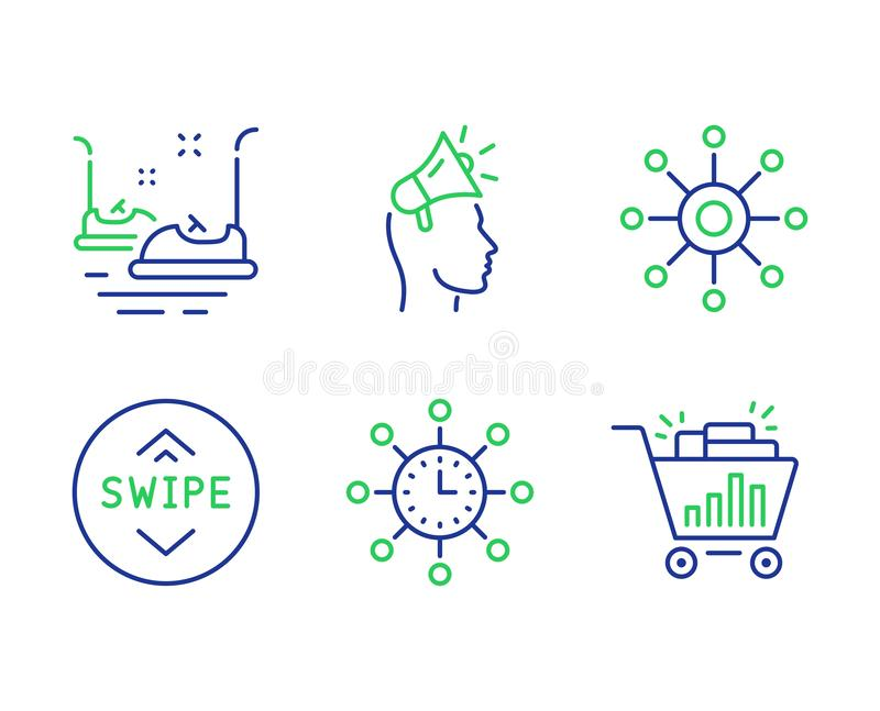 Brand ambassador, Bumper cars and World time icons set. Multichannel, Swipe up and Seo shopping signs. Vector. Brand ambassador, Bumper cars and World time line vector illustration