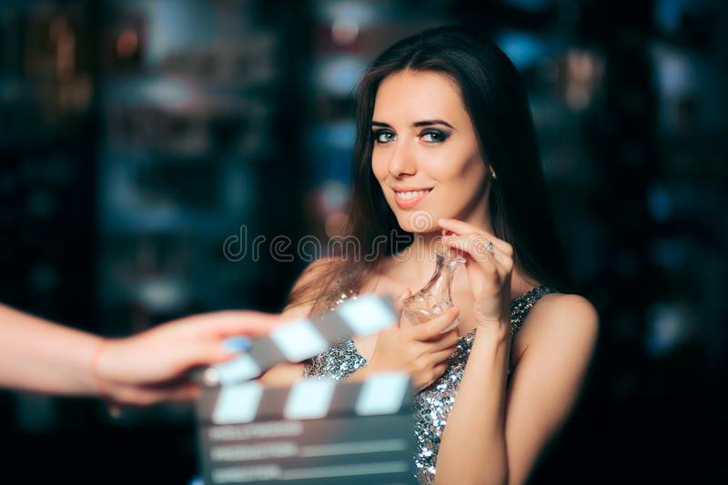 Model Acting in Perfume Commercial Ready to Film New Scene. Brand ambassador diva endorsing a product in cosmetics advertising campaigns stock photography