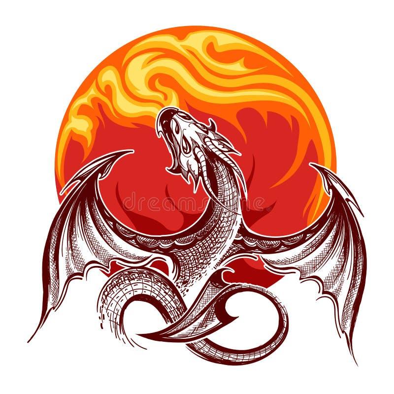 Brand-andning Dragon Emblem stock illustrationer