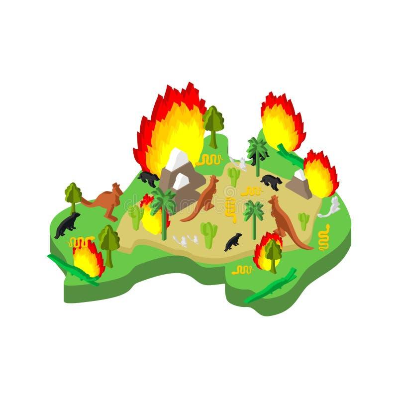 Brand in Australië Het vasteland is in brand beland Dieren en planten verbranden vectorillustratie royalty-vrije illustratie