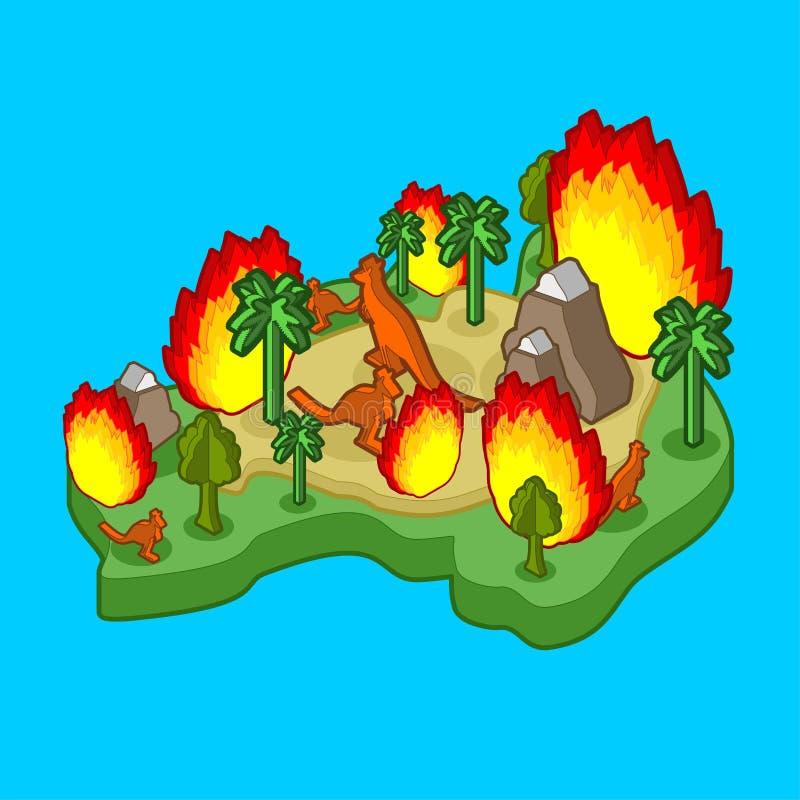 Brand in Australië Het vasteland is in brand beland Dieren en planten verbranden vectorillustratie vector illustratie