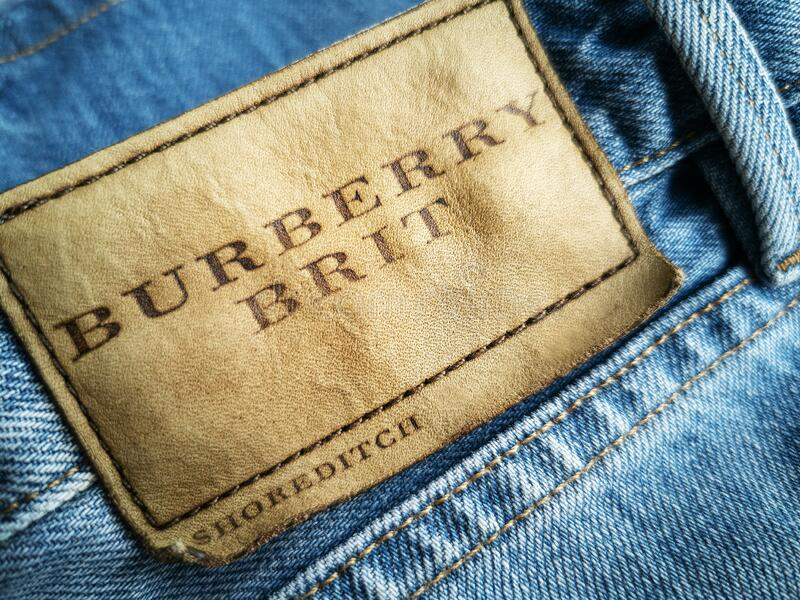 Brand background nameplate burberry jeans royalty free stock photo
