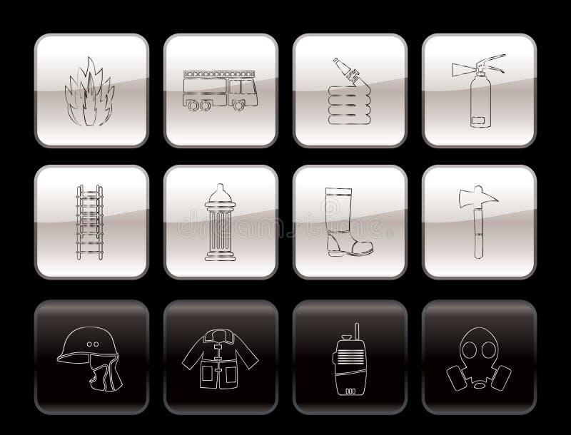 Brand-brigade en brandweermanapparatuur pictogram royalty-vrije illustratie
