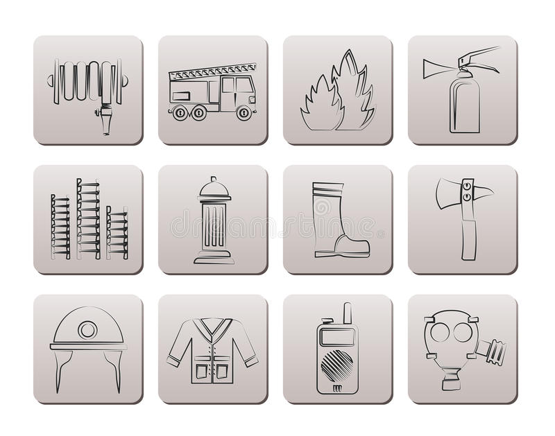 Brand-brigade en brandweermanapparatuur pictogrammen vector illustratie