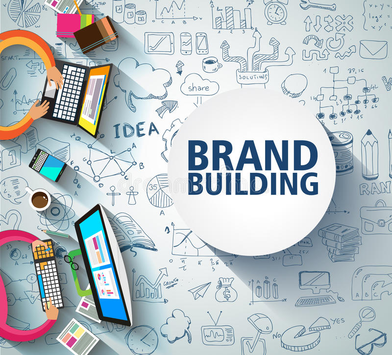 Brand Building concept with Business Doodle design style: company image study, skill testing,best solutions. royalty free illustration
