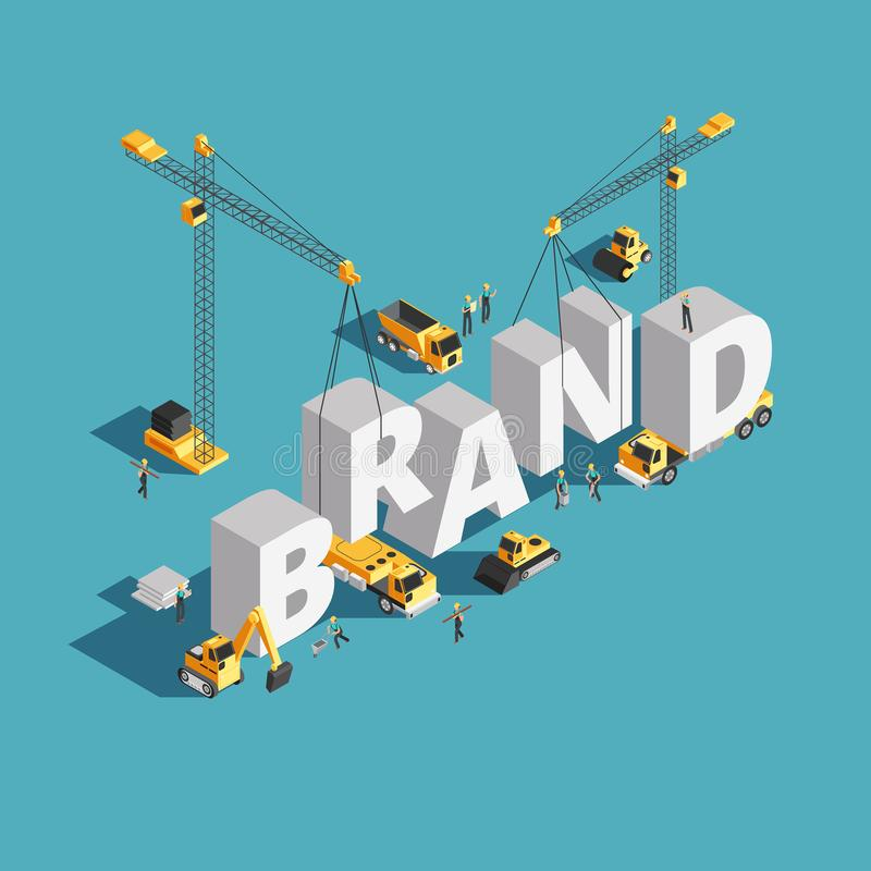 Brand building construction 3d isometric vector concept with construction machinery and workers royalty free illustration