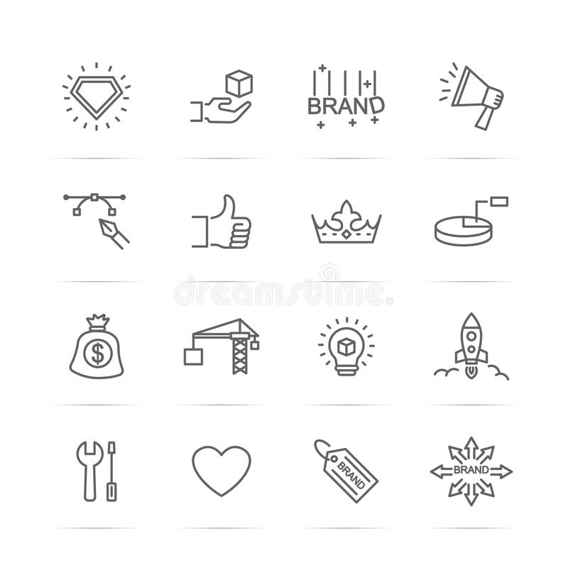 Free Brand Building Line Icons Royalty Free Stock Photography - 97442467