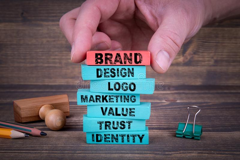 Brand Business Concept With Colorful Blocks. Brand Business Concept With Colorful Wooden Blocks stock photos