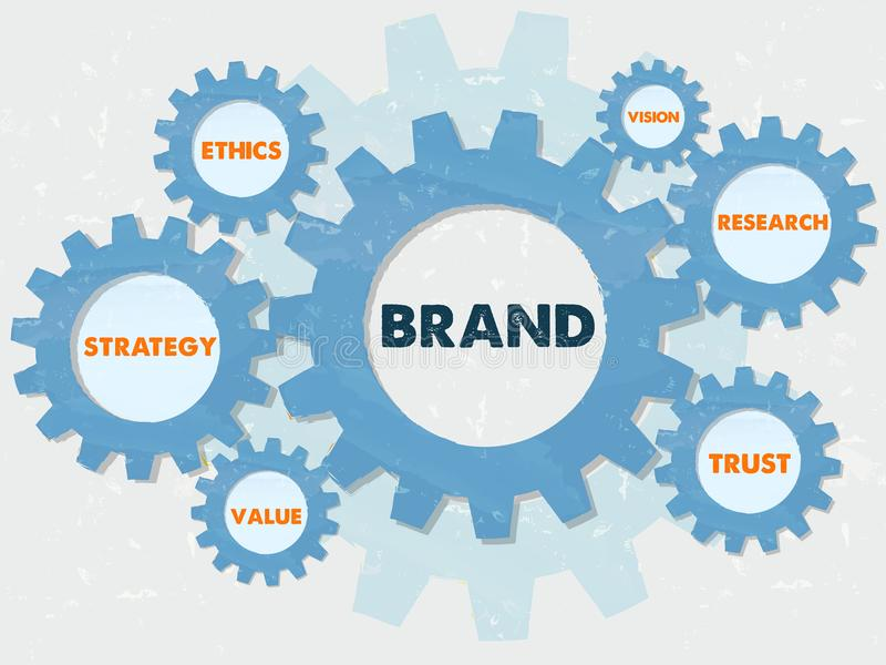 Brand and business conception words in grunge flat design gears royalty free stock image