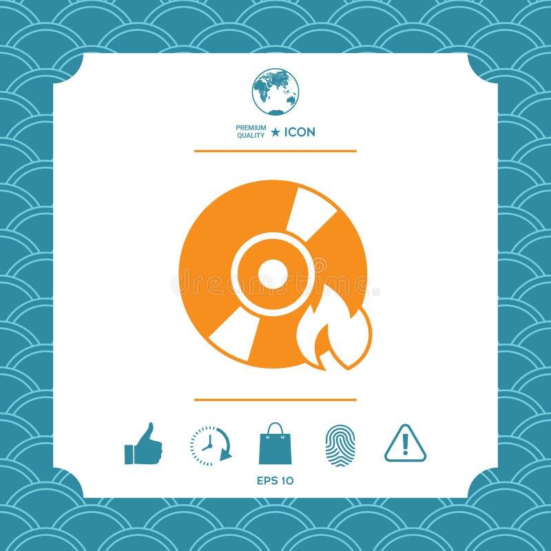 Brand CD- oder DVD-Ikone stock abbildung