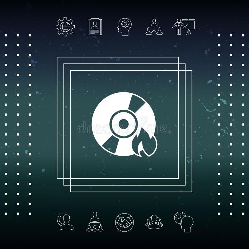 Brand CD- oder DVD-Ikone lizenzfreie abbildung