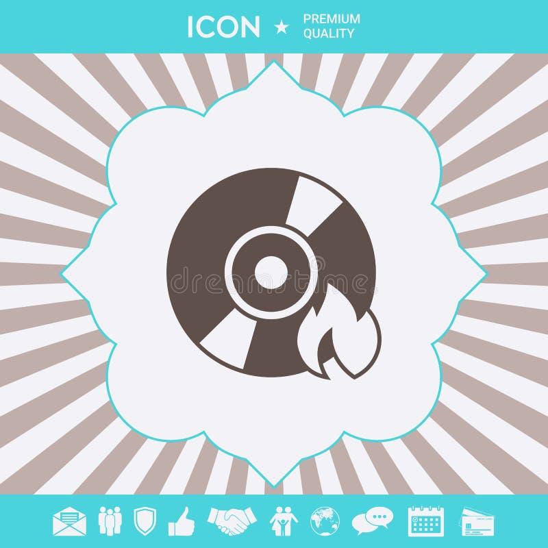 Brand CD- oder DVD-Ikone Grafische Elemente für Ihr Design vektor abbildung