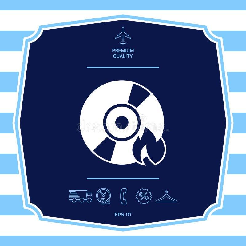 Brand CD- oder DVD-Ikone Grafische Elemente f?r Ihr Design lizenzfreie abbildung