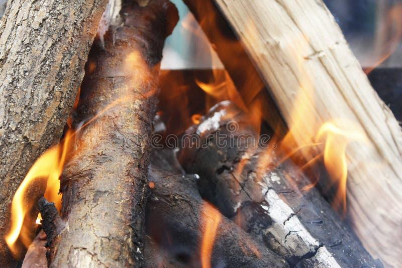 brand Closeup av högen av träbränningen med flammor i spisen arkivbild